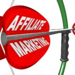 The words Affiliate Marketing on an arrow being aimed with a bow